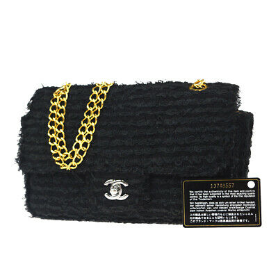 Authentic CHANEL CC Quilted Chain Shoulder Bag Wool Leather Black Gold 92ET899