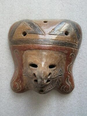 RARE Beautiful Pre-Columbian Polychrome Pottery Mask