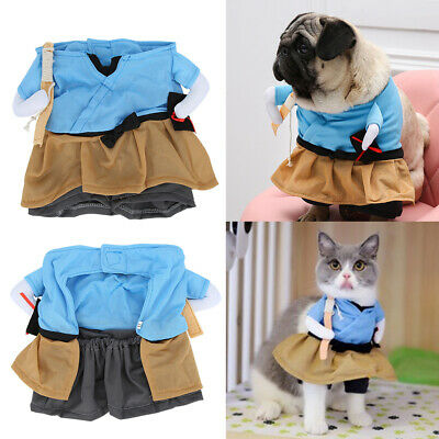 Pet Dog Halloween Funny Samurai Upright Dress Up Costume Cosplay Party 4 Sizes