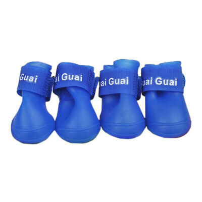 Blue M, Pet Shoes Booties Rubber Dog Waterproof Rain Boots A8E7 ND