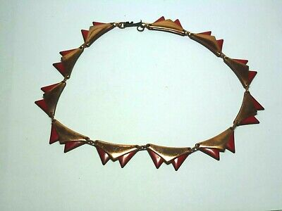 Vintage Gorgeous Signed Matisse Mid-Century Copper & Red Enamel Choker Necklace