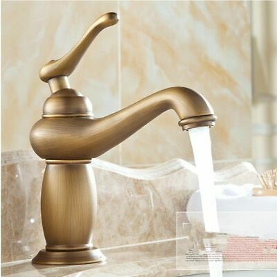 Antique Brass Single Handle Faucets Cold And Hot Water Basin Faucet For Bathroom