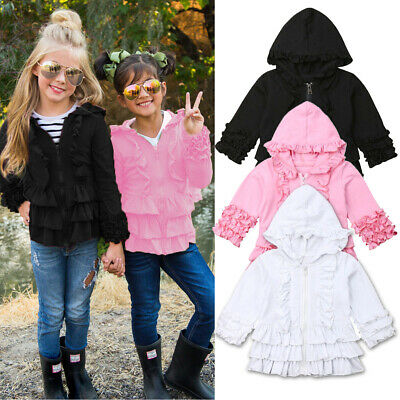AU Toddler Kid Baby Girl Clothes Ruffle Hoodies Coat Outer Jacket Outerwear 1-5Y