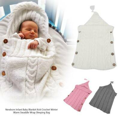 Newborn Baby Infant Swaddle Wrap Blanket Knit Crochet Hooded Sleepsacks Warm