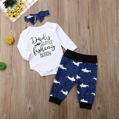 Newborn Baby Boy Girl Clothes Dady's Llittle Fishing Buddy Romper Pants Outfit