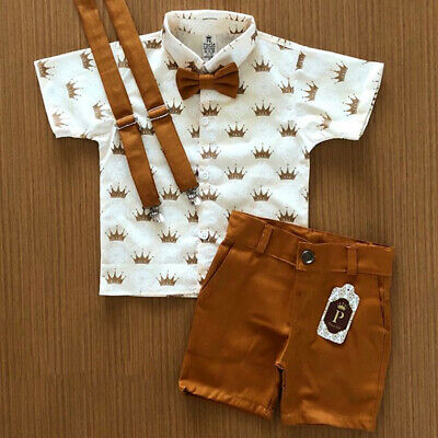 AU Kids Baby Boys Summer Suit Wedding Gentleman T-Shirt+Shorts Outfits Clothes