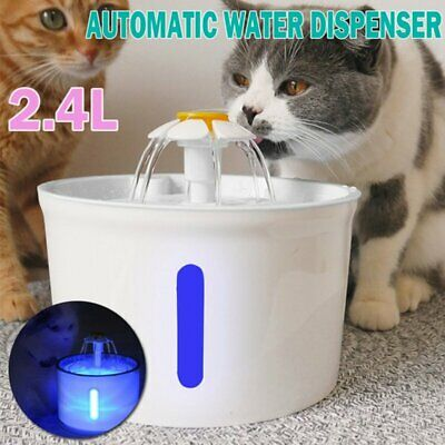 LED USB Automatic Electric Pet Water Fountain Cat/Dog Drinking Dispenser 2.4L BP