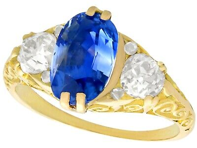 Antique Victorian 3.11ct Sapphire and Diamond 18ct Yellow Gold Trilogy Ring