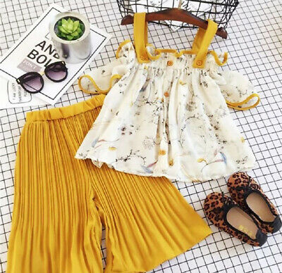 AU 2PCS Toddler Kid Baby Girl Clothes Floral Strap Tops+Pants Summer Outfits Set