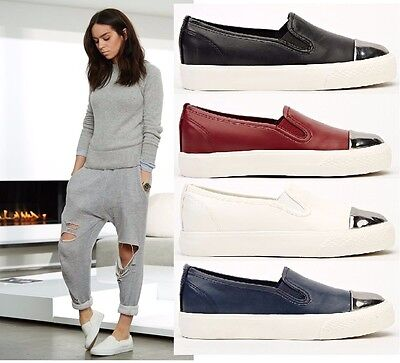 Ladies Womens Flat Slip On Pumps Skate Fashion Trainers Shoes Size UK 3-8