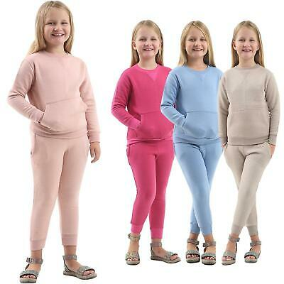 Girls Kids 2 Piece Top Bottom Set Knit Loungewear Plain Jog suit Tracksuits