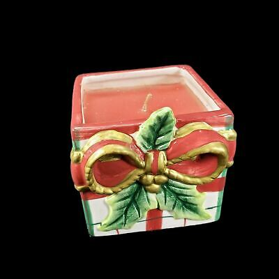 Fitz and Floyd Plaid Christmas Giftbox Candlecup Spicy Candle Present 2002