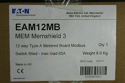 Eaton 12 Way 125 Amp Metered Distribution Board Spn Modbus Memshield 3 Eam12Mb