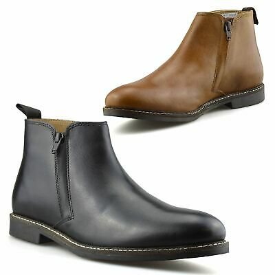 Mens New Leather Zip Up Smart Formal Chelsea Dealer Work Ankle Boots Shoes Size