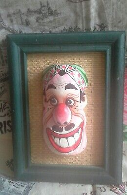 Vintage 90s  Hand Painted Ceramic Mask In Frame From Far East (Unusual )