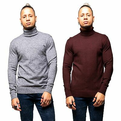 Mens Knitted Roll Polo Neck Jumper Sweater Funnel Warm Winter Top Base Layer
