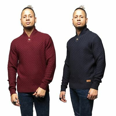 Mens Chunky Knit Jumper Funnel Neck Thick Warm Winter Knitted Sweater Pullover