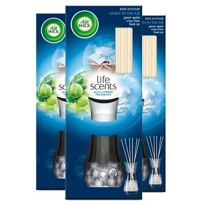 3 x Air Wick Life Scents Reed Diffuser Linen In Air Green Apple Fresh Air 30ml