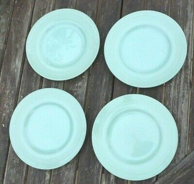 "Vintage Woods Ware  ""Beryl"" - 4 Green Pottery 6 3/4 Inch Side Tea Plates"