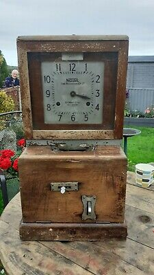 Antique National Time Recorder Co Ltd St Mary Cray Kent Clocking In Clock