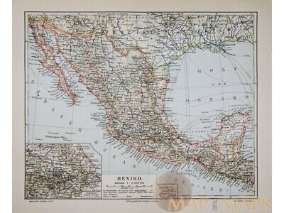 Antique Old map Mexico America Orleans by Meyer 1905