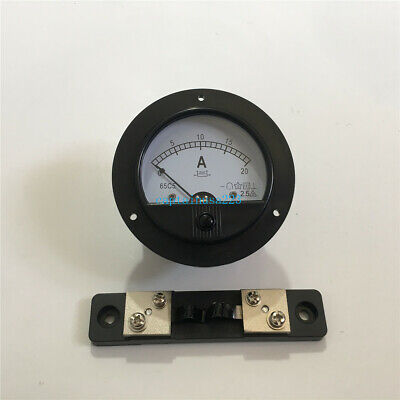 62C2 DC 0-20A Round Analog Amp Panel Meter Current Ammeter DC 20A w 75mV Shunt