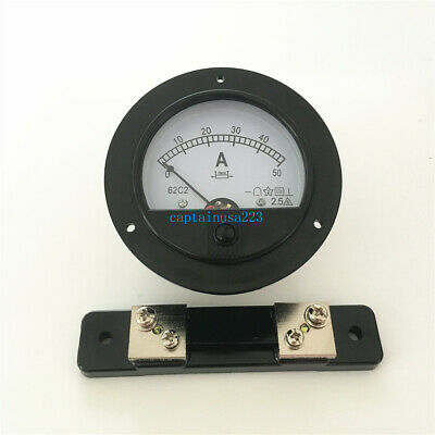 62C2 DC 0-50A Round Analog Amp Panel Meter Current Ammeter DC 50A w 75mV Shunt