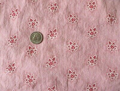 """Antique c1840-60 French Pink Floral-Leaf Cotton PIllow Sham/cover~23""""Square"""