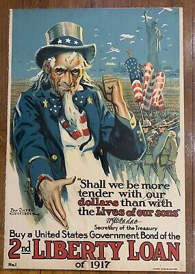 WORLD WAR I POSTER 2nd Liberty Loan 1917 Original 20x30 Uncle Sam Groesbeck Art