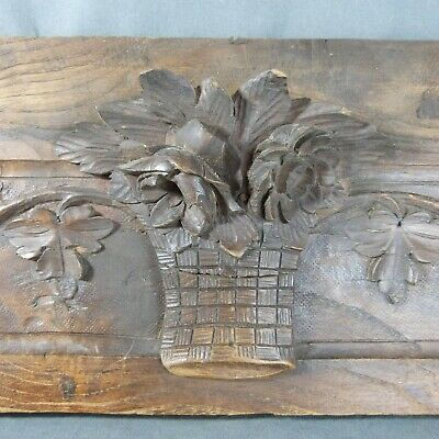 Antique Large French Pediment Fronton Oak Wood Carved Basket of Flowers 19th c.