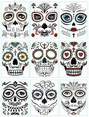 DaLin 9 Sheets Floral Day of the Dead Sugar Skull Temporary Face Tattoo Kit for