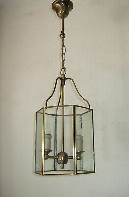 Antique Vintage Classic French  Brass Regency  Lantern Chandelier Hall Light