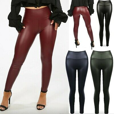 Womens Ladies Skinny Wet Look Pu Soft Stretchy Leggings Trousers Shiny Bottoms