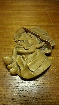 "🗸 Vintage 5"" German Hand Carved Wooden Pipe Smoking Old Man Wall Relief Bust 🗸"