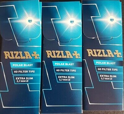 3 x Rizla Polar Blast Filter Tips Extra Slim Menthol Smoking Crushball CHEAP