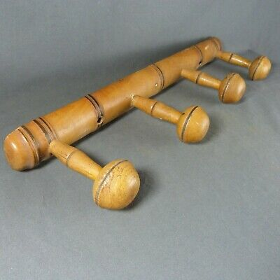 Vintage French Wooden Faux Bamboo Coat Hat Hanging Rack Towel Hook 4 Pegs
