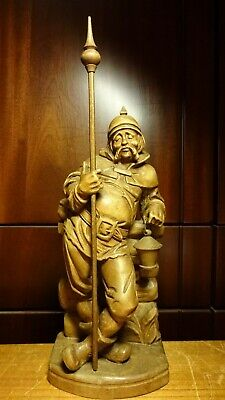 """Antique 13"""" German Wood Hand Carved Pirate Medieval Night Watchman Guard Statue"""
