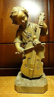 """Vintage 9"""" Wooden Hand Carved Boy Musician With Bass Statue Figurine German Gift"""