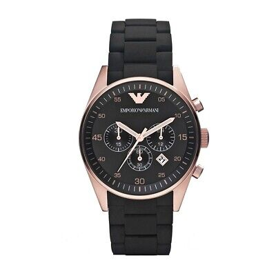 Emporio Armani Rose Gold Black Silicone Strap Date Chronograph Mens Watch Ar5905