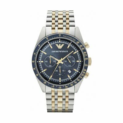 Emporio Armani Ar6088 Stainless Steel Gold Blue Dial Date Chronograph Mens Watch