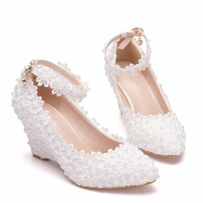 Womens Handmade Pearl Floral Lace Wedge Heel 8cm Wedding Party Shoes Bride Pumps