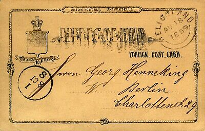Germany Helgoland 1889 Foreign Rate 10pf Postcard 2nd Issue Sent to Berlin