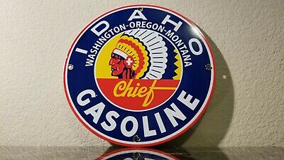 Vintage Idaho Gasoline Porcelain Gas Oil Chief Service Station Pump Plate Sign
