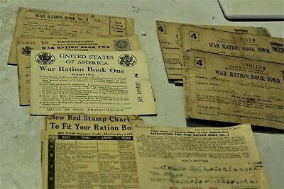 Collection of 10 WWII War Ration Books, 1. 2, 3, 4, with Partial Stamps