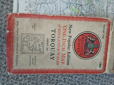 Antique Ordnance Survey Road Map. Torquay. Published 1946