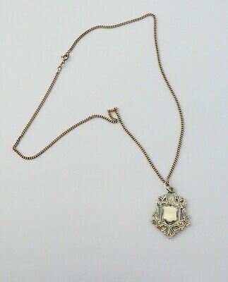 Rare Antique sterling silver signet coat of arms fob medal necklace England 1905
