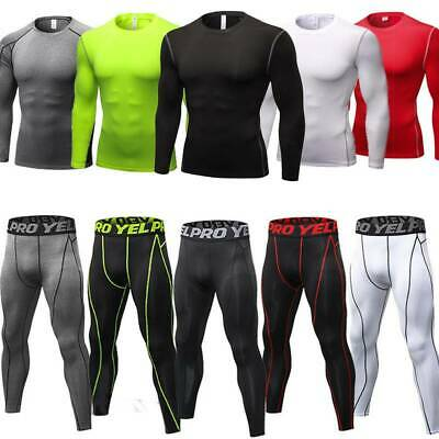 Mens Compression Base Layer Tight Leggings Thermal Gym Sports Tops Shirt Pants