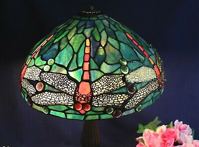 "Tiffany Style Stained Glass Jeweled DRAGONFLY Lamp Shade 14""Wide"