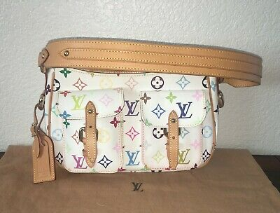 Authentic Louis Vuitton Lodge PM White Multicolor Monogram Shoulder Bag Purse