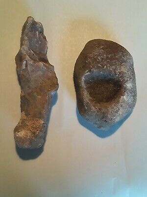 Rare Authentic Paleo Indian Grinding Stone Tool Set, Archaic Paleo Artifacts. A1